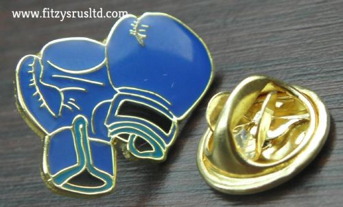 Blue Boxing Gloves Lapel Hat Cap Tie Metal Pin Badge Spar Sparring Glove Fighter